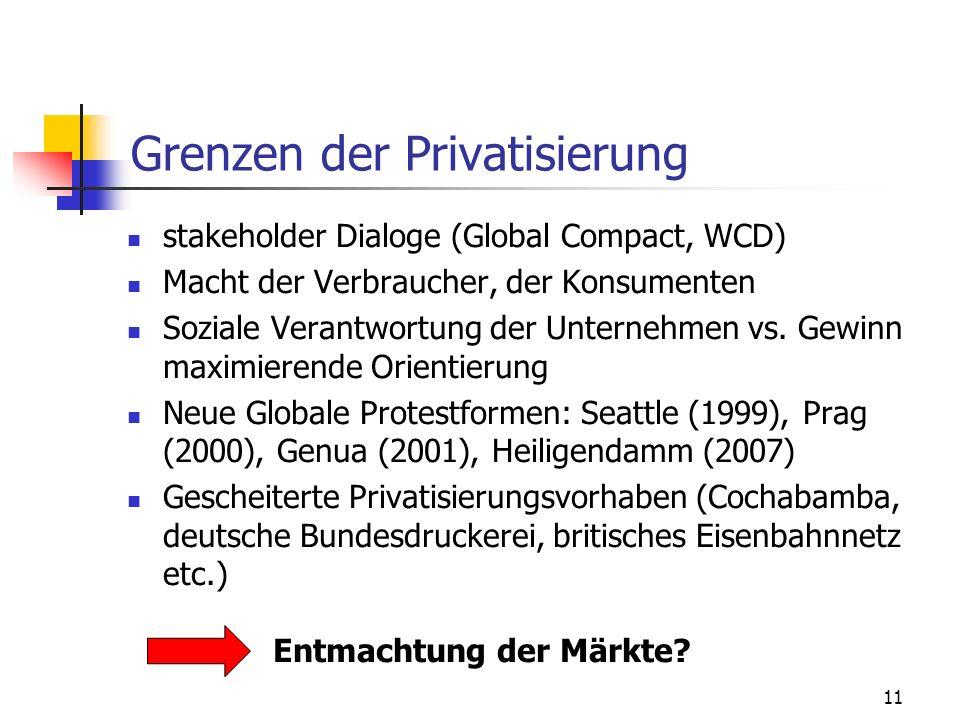 11 Grenzen der Privatisierung stakeholder Dialoge (Global Compact, WCD) Macht der Verbraucher, der Konsumenten Soziale Verantwortung der Unternehmen vs.