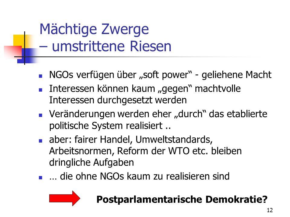 12 Mächtige Zwerge – umstrittene Riesen NGOs verfügen über soft power - geliehene Macht Interessen können kaum gegen machtvolle Interessen durchgesetzt werden Veränderungen werden eher durch das etablierte politische System realisiert..