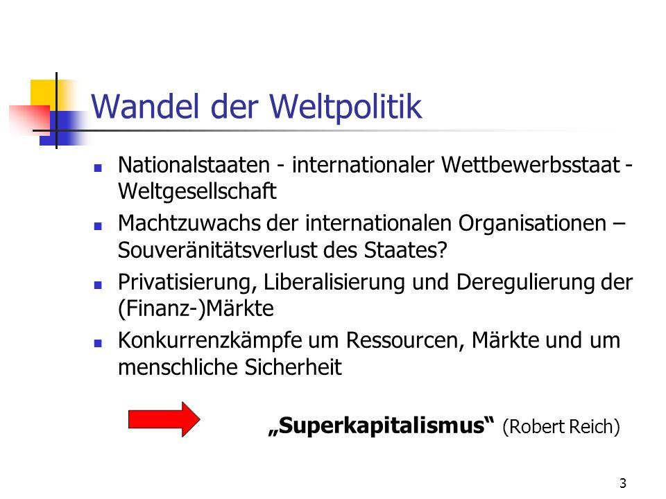 3 Wandel der Weltpolitik Nationalstaaten - internationaler Wettbewerbsstaat - Weltgesellschaft Machtzuwachs der internationalen Organisationen – Souveränitätsverlust des Staates.