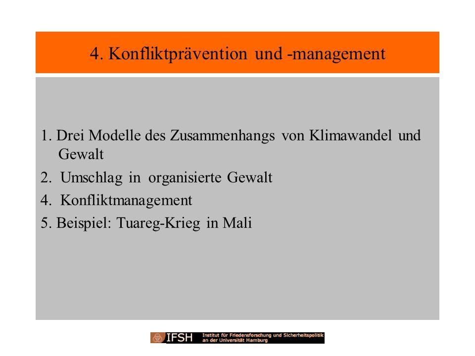4. Konfliktprävention und -management 1. Drei Modelle des Zusammenhangs von Klimawandel und Gewalt 2. Umschlag in organisierte Gewalt 4. Konfliktmanag