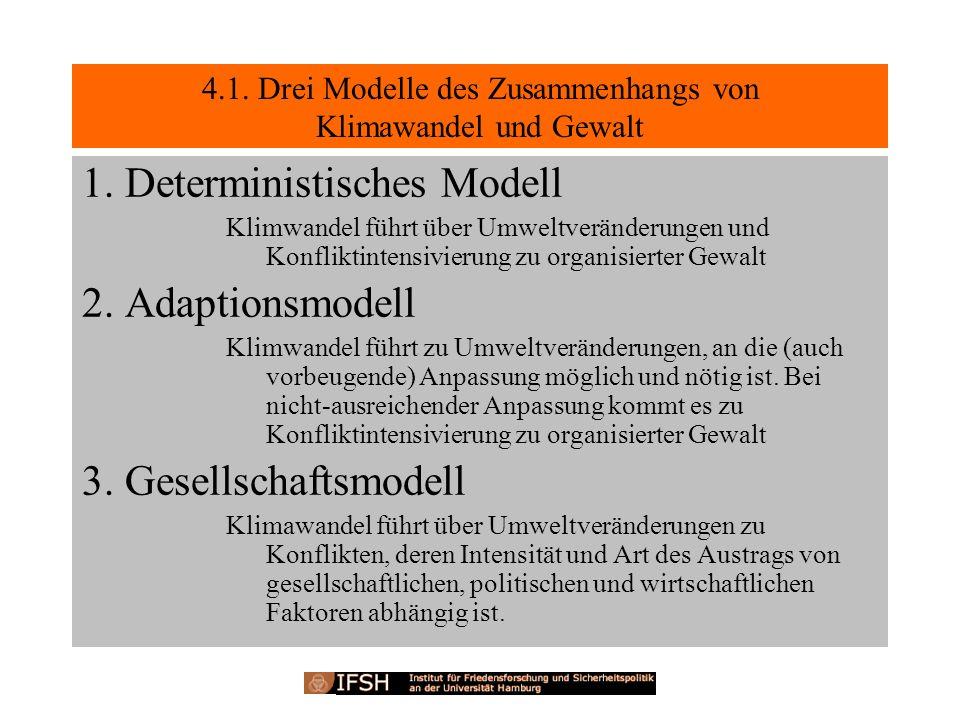 4.1. Drei Modelle des Zusammenhangs von Klimawandel und Gewalt 1. Deterministisches Modell Klimwandel führt über Umweltveränderungen und Konfliktinten