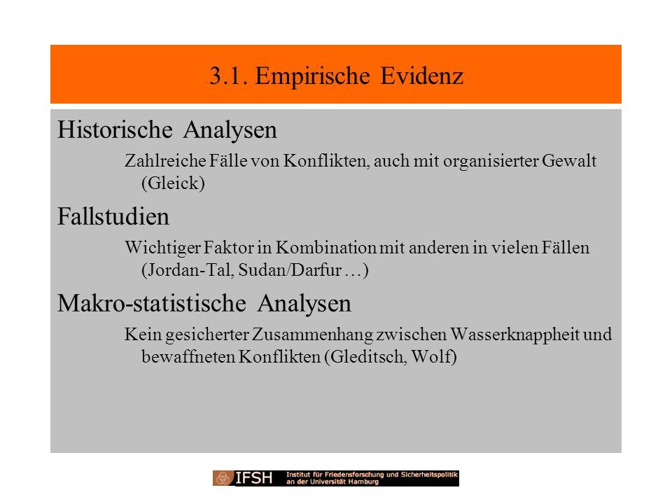 3.1. Empirische Evidenz Historische Analysen Zahlreiche Fälle von Konflikten, auch mit organisierter Gewalt (Gleick) Fallstudien Wichtiger Faktor in K
