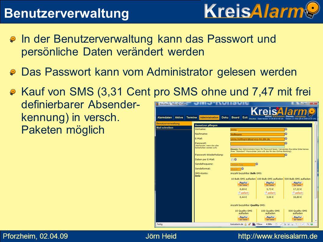 In der Benutzerverwaltung kann das Passwort und persönliche Daten verändert werden Das Passwort kann vom Administrator gelesen werden Kauf von SMS (3,