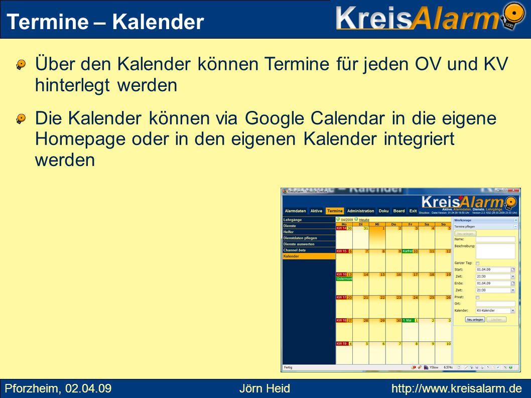 Über den Kalender können Termine für jeden OV und KV hinterlegt werden Die Kalender können via Google Calendar in die eigene Homepage oder in den eige