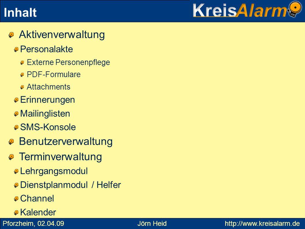 Lehrgänge können über Google Calendar oder Joomla in die eigene Homepage integriert werden Termine – Lehrgänge 2 Pforzheim, 02.04.09 Jörn Heid http://www.kreisalarm.de
