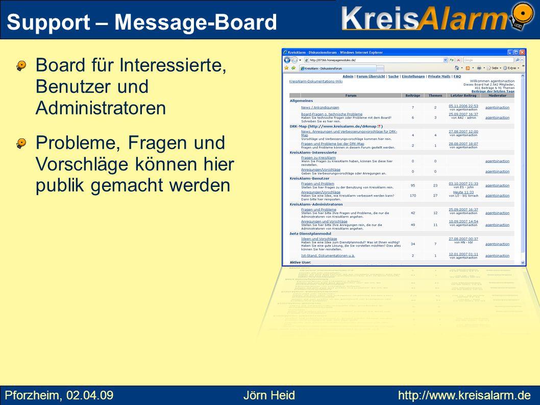 Support – Message-Board Board für Interessierte, Benutzer und Administratoren Probleme, Fragen und Vorschläge können hier publik gemacht werden Pforzh