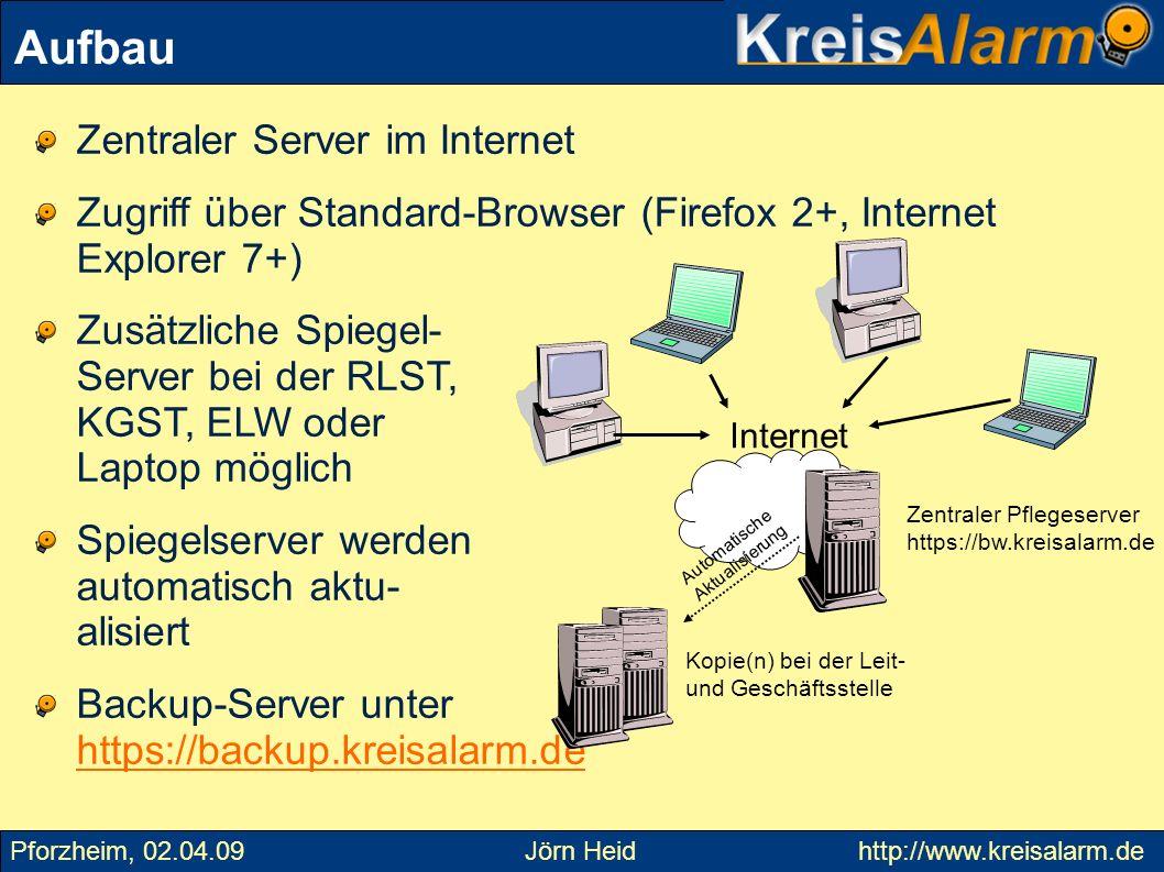 Zentraler Server im Internet Zugriff über Standard-Browser (Firefox 2+, Internet Explorer 7+) Zusätzliche Spiegel- Server bei der RLST, KGST, ELW oder
