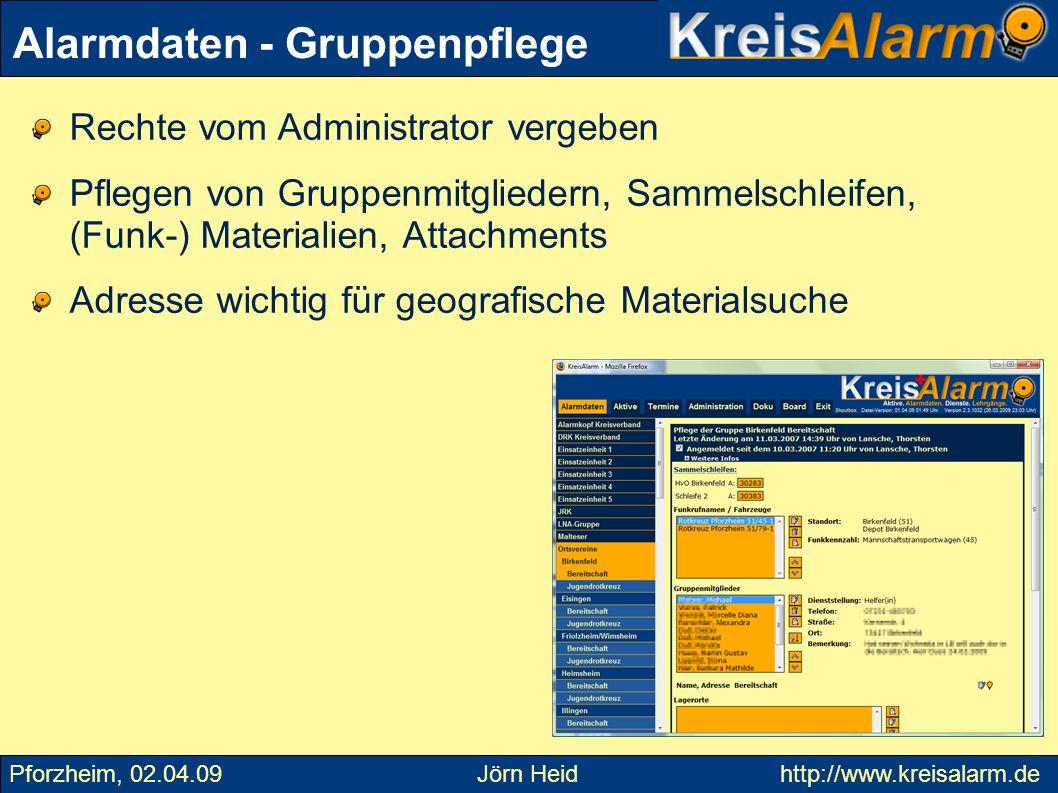 Alarmdaten - Auswertungen Pforzheim, 02.04.09 Jörn Heid http://www.kreisalarm.de