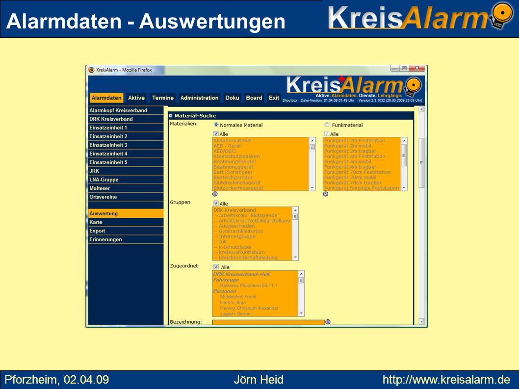 E-Mails oder SMS an Mailinglisten werden an die aktuelle Liste von Adressen eines Templates weitergeschickt Sie können den Alias selbst definieren Antworten auf E-Mails an list- @kreisalarm.de werden an alle geschickt, bei inform- … nur an den Absender Versand von SMS geht auf Kosten des SMS-Kontos Aktive – Mailinglisten Pforzheim, 02.04.09 Jörn Heid http://www.kreisalarm.de