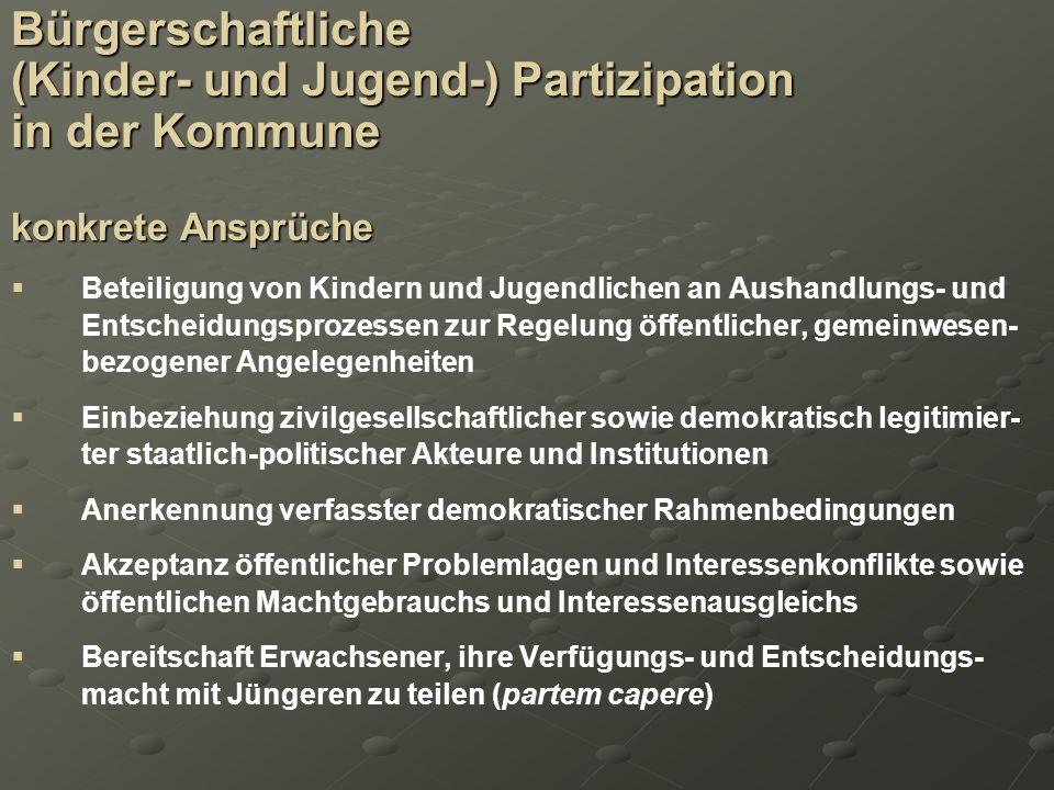 Bürgerschaftliche (Kinder- und Jugend-) Partizipation in der Kommune konkrete Ansprüche Beteiligung von Kindern und Jugendlichen an Aushandlungs- und