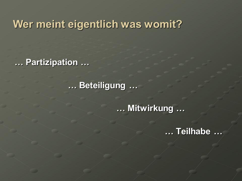Begriffsklärung Partizipationsstufen (nach R.Hart und W.