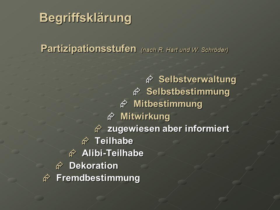 Begriffsklärung Partizipationsstufen (nach R. Hart und W. Schröder) Begriffsklärung Partizipationsstufen (nach R. Hart und W. Schröder) Selbstverwaltu