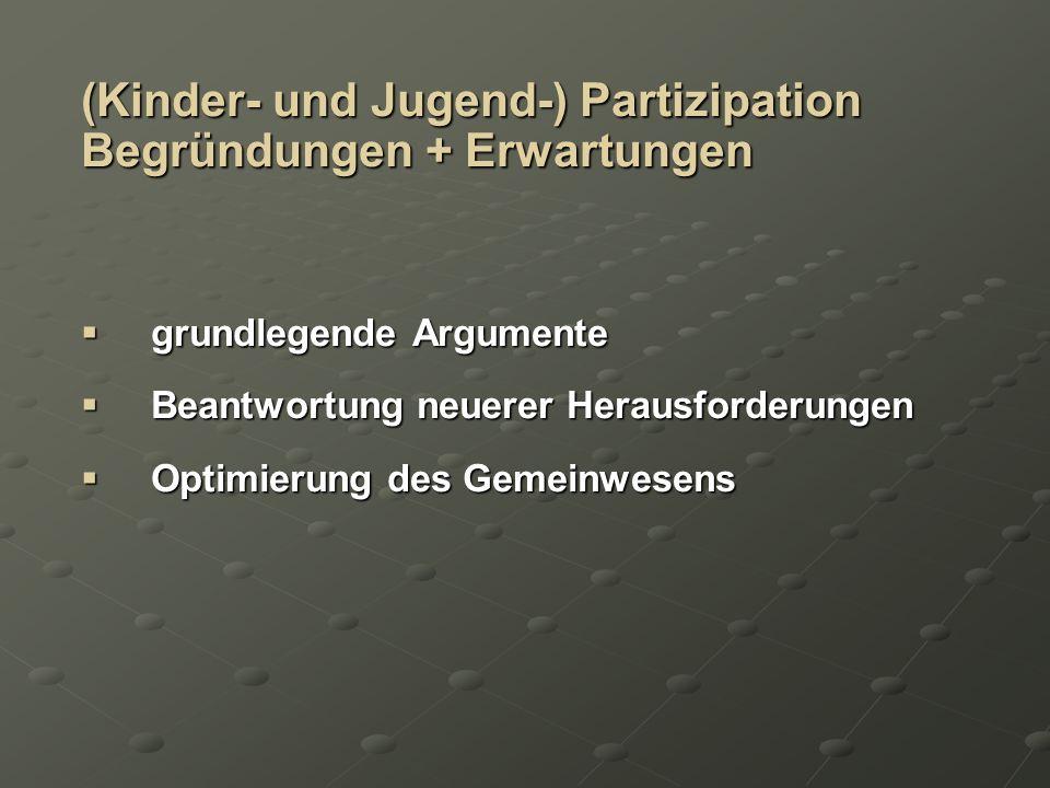 (Kinder- und Jugend-) Partizipation Begründungen + Erwartungen grundlegende Argumente grundlegende Argumente Beantwortung neuerer Herausforderungen Be