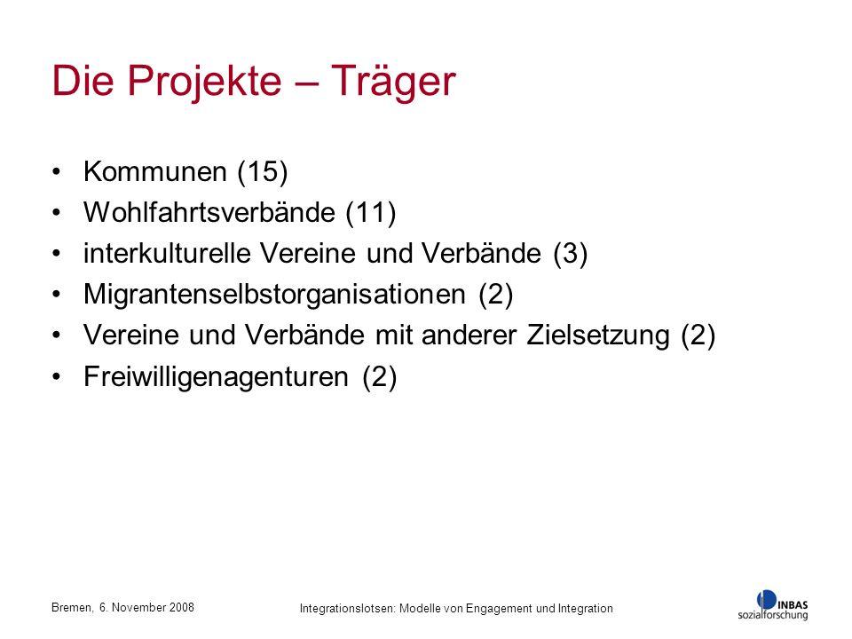 Bremen, 6. November 2008 Integrationslotsen: Modelle von Engagement und Integration Die Projekte – Träger Kommunen (15) Wohlfahrtsverbände (11) interk