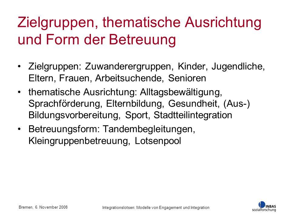 Zielgruppen, thematische Ausrichtung und Form der Betreuung Zielgruppen: Zuwanderergruppen, Kinder, Jugendliche, Eltern, Frauen, Arbeitsuchende, Senio