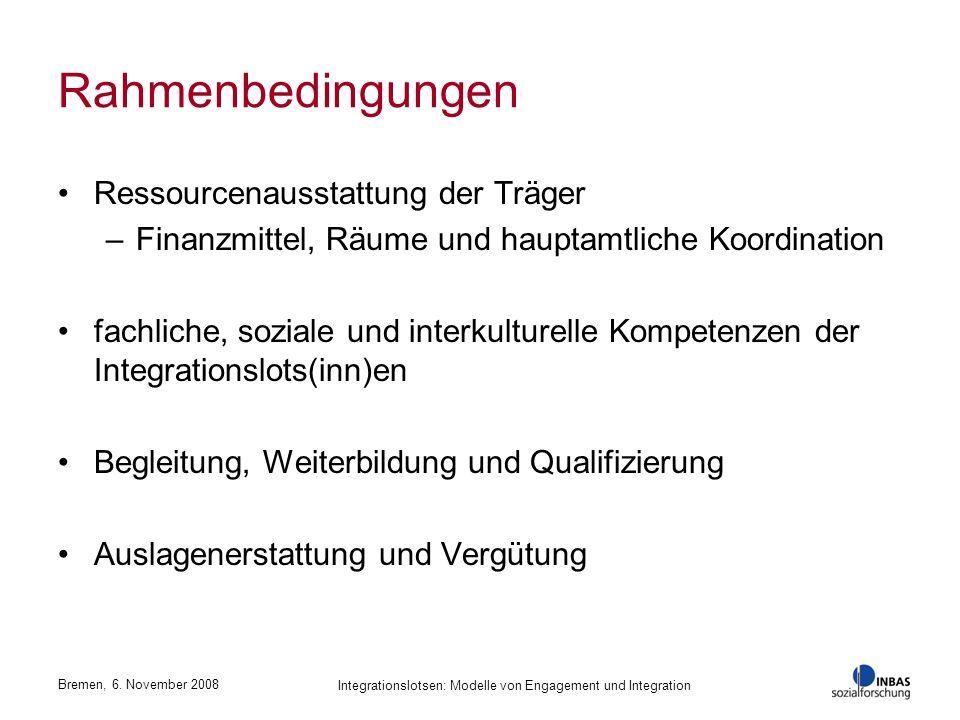 Bremen, 6. November 2008 Integrationslotsen: Modelle von Engagement und Integration Rahmenbedingungen Ressourcenausstattung der Träger –Finanzmittel,