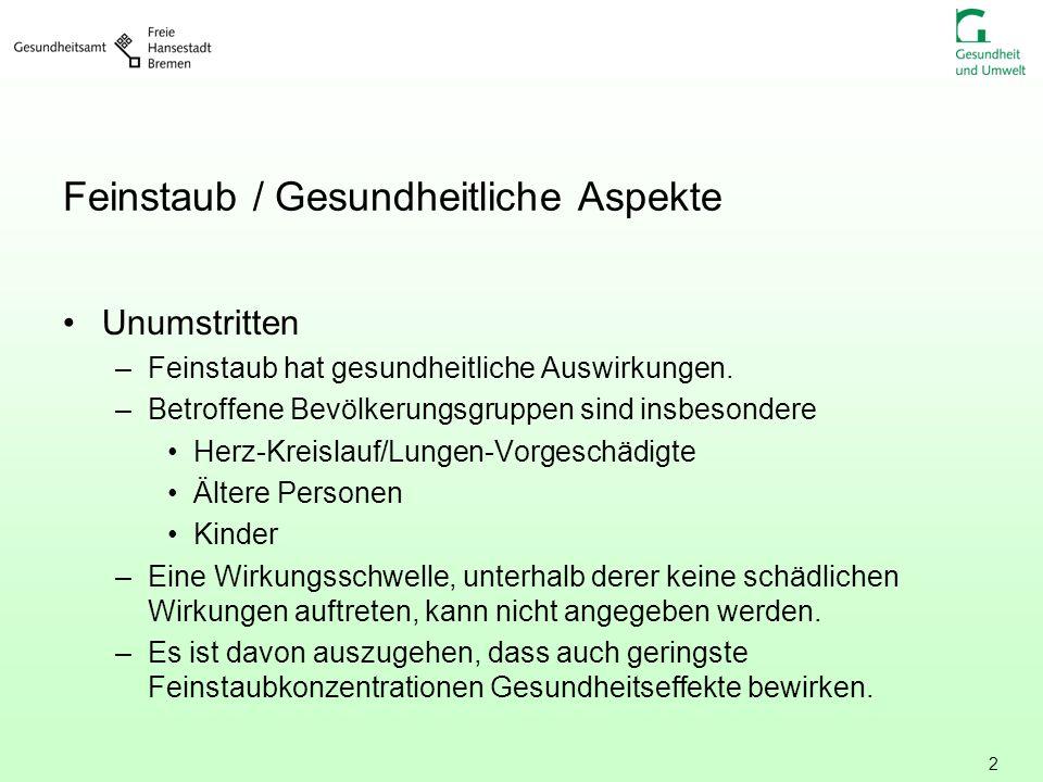 3 Gesundheitliche Wirkungen von Feinstaub Beeinträchtigungen der Atemwege, z.B.
