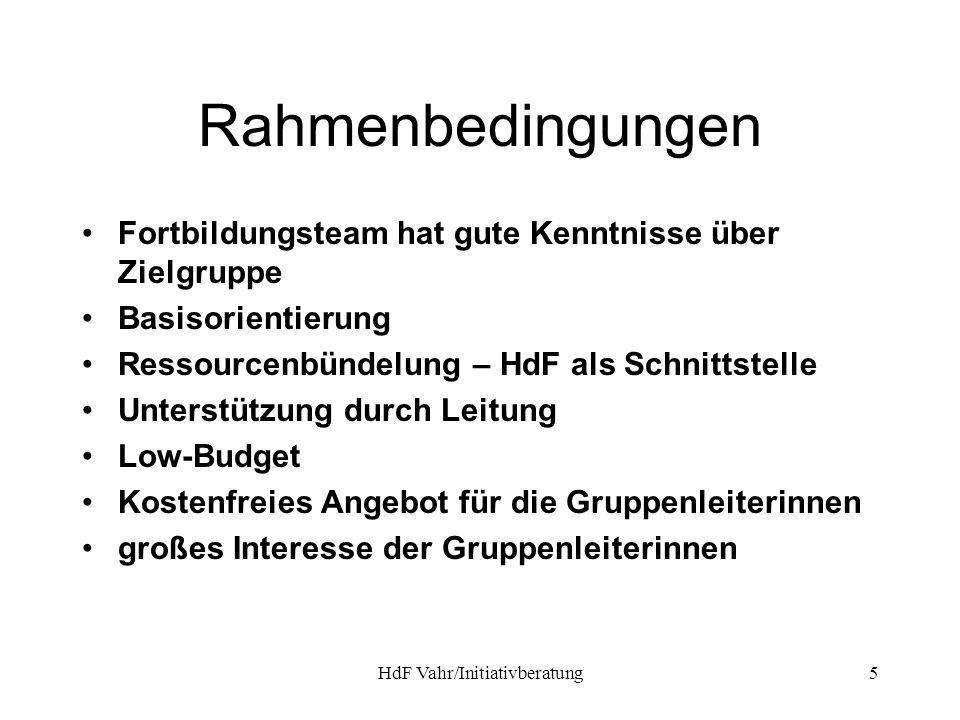 HdF Vahr/Initiativberatung5 Rahmenbedingungen Fortbildungsteam hat gute Kenntnisse über Zielgruppe Basisorientierung Ressourcenbündelung – HdF als Sch