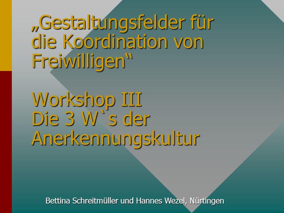 Bettina Schreitmüller und Hannes Wezel, Nürtingen 1. Bremer Fachtag Gestaltungsfelder für die Koordination von Freiwilligen Workshop III Die 3 W`s der