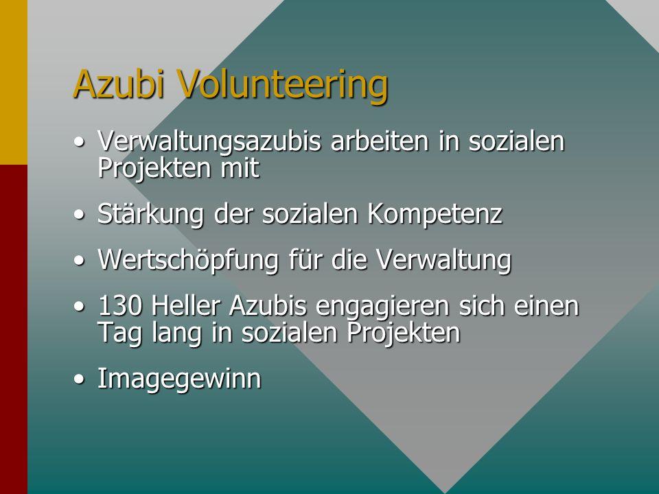 Azubi Volunteering Verwaltungsazubis arbeiten in sozialen Projekten mitVerwaltungsazubis arbeiten in sozialen Projekten mit Stärkung der sozialen Komp
