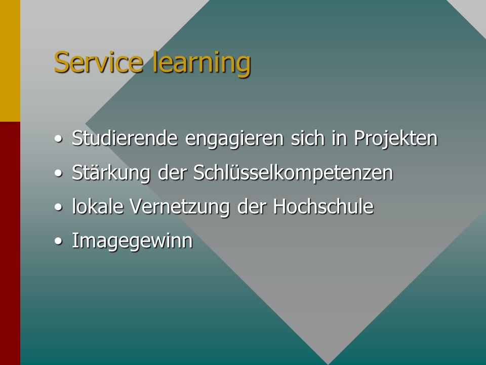 Service learning Studierende engagieren sich in ProjektenStudierende engagieren sich in Projekten Stärkung der SchlüsselkompetenzenStärkung der Schlüs