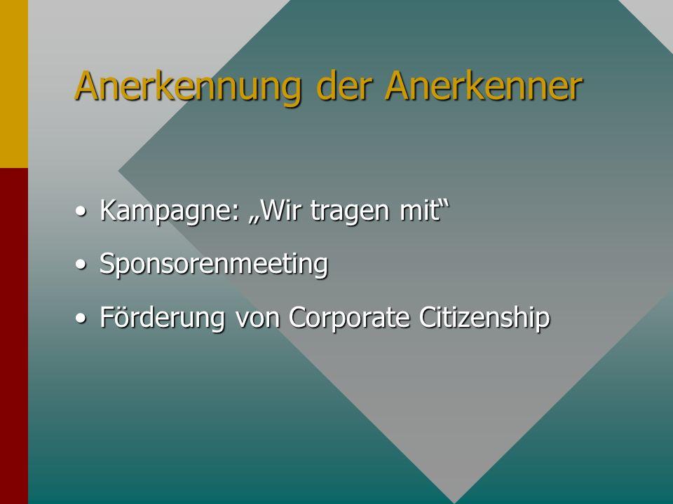 Anerkennung der Anerkenner Kampagne: Wir tragen mitKampagne: Wir tragen mit SponsorenmeetingSponsorenmeeting Förderung von Corporate CitizenshipFörder