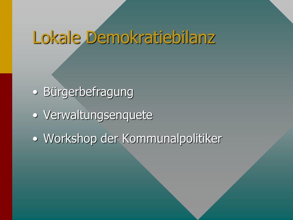 Lokale Demokratiebilanz BürgerbefragungBürgerbefragung VerwaltungsenqueteVerwaltungsenquete Workshop der KommunalpolitikerWorkshop der Kommunalpolitik