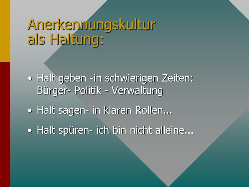 Anerkennungskultur als Haltung: Halt geben -in schwierigen Zeiten: Bürger- Politik - VerwaltungHalt geben -in schwierigen Zeiten: Bürger- Politik - Ve