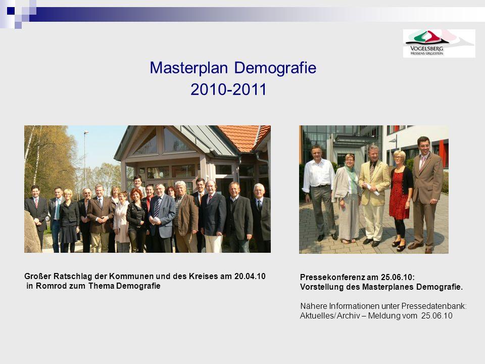 Masterplan Demografie 2010-2011 Großer Ratschlag der Kommunen und des Kreises am 20.04.10 in Romrod zum Thema Demografie Pressekonferenz am 25.06.10: Vorstellung des Masterplanes Demografie.