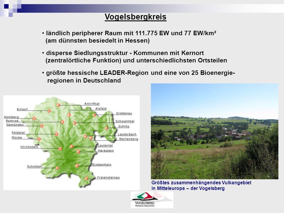 Vogelsbergkreis ländlich peripherer Raum mit 111.775 EW und 77 EW/km² (am dünnsten besiedelt in Hessen) disperse Siedlungsstruktur - Kommunen mit Kernort (zentralörtliche Funktion) und unterschiedlichsten Ortsteilen größte hessische LEADER-Region und eine von 25 Bioenergie- regionen in Deutschland Größtes zusammenhängendes Vulkangebiet in Mitteleuropa – der Vogelsberg