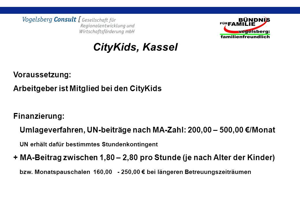 CityKids, Kassel Voraussetzung: Arbeitgeber ist Mitglied bei den CityKids Finanzierung: Umlageverfahren, UN-beiträge nach MA-Zahl: 200,00 – 500,00 /Monat UN erhält dafür bestimmtes Stundenkontingent + MA-Beitrag zwischen 1,80 – 2,80 pro Stunde (je nach Alter der Kinder) bzw.
