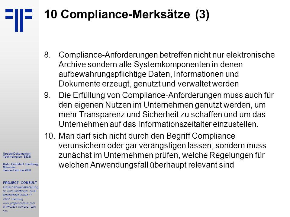 100 Update Dokumenten- Technologien (S202) Köln, Frankfurt, Hamburg, München Januar/Februar 2006 PROJECT CONSULT Unternehmensberatung Dr.