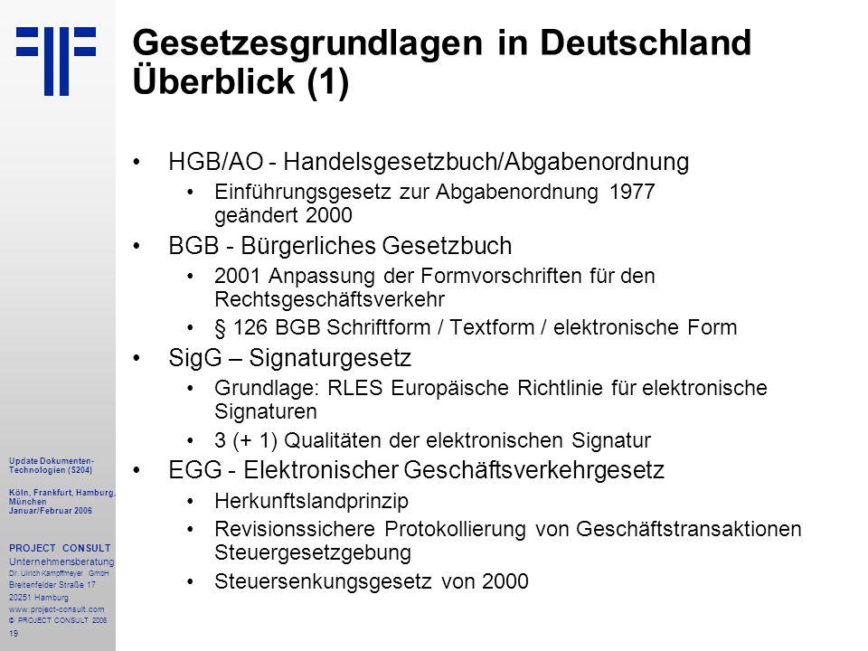 19 Update Dokumenten- Technologien (S204) Köln, Frankfurt, Hamburg, München Januar/Februar 2006 PROJECT CONSULT Unternehmensberatung Dr.