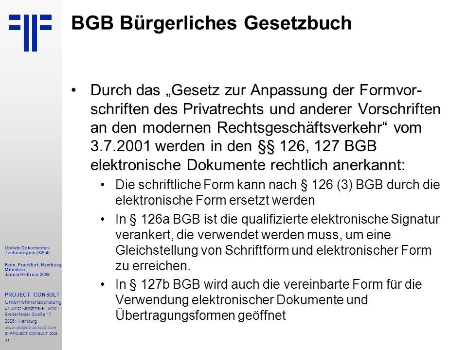 31 Update Dokumenten- Technologien (S204) Köln, Frankfurt, Hamburg, München Januar/Februar 2006 PROJECT CONSULT Unternehmensberatung Dr.