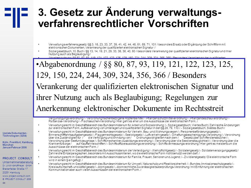 44 Update Dokumenten- Technologien (S204) Köln, Frankfurt, Hamburg, München Januar/Februar 2006 PROJECT CONSULT Unternehmensberatung Dr.
