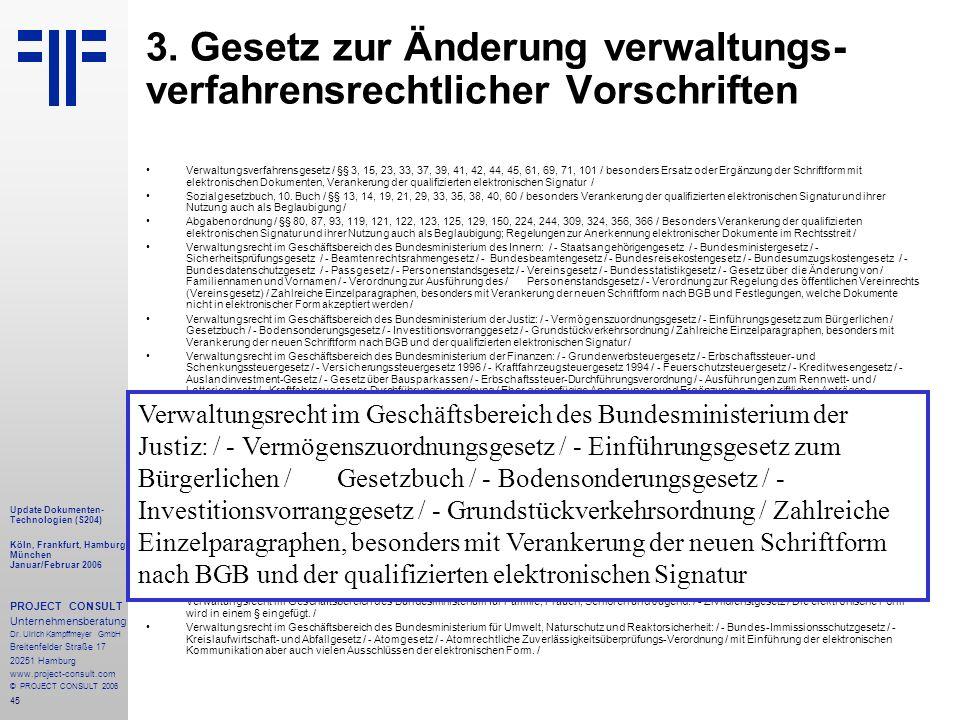 45 Update Dokumenten- Technologien (S204) Köln, Frankfurt, Hamburg, München Januar/Februar 2006 PROJECT CONSULT Unternehmensberatung Dr.