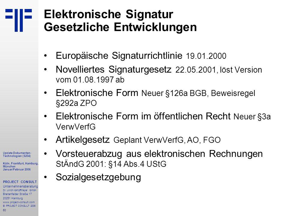 60 Update Dokumenten- Technologien (S204) Köln, Frankfurt, Hamburg, München Januar/Februar 2006 PROJECT CONSULT Unternehmensberatung Dr.
