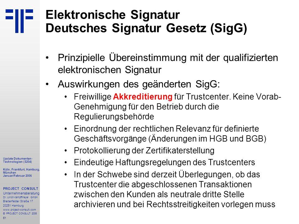 61 Update Dokumenten- Technologien (S204) Köln, Frankfurt, Hamburg, München Januar/Februar 2006 PROJECT CONSULT Unternehmensberatung Dr.