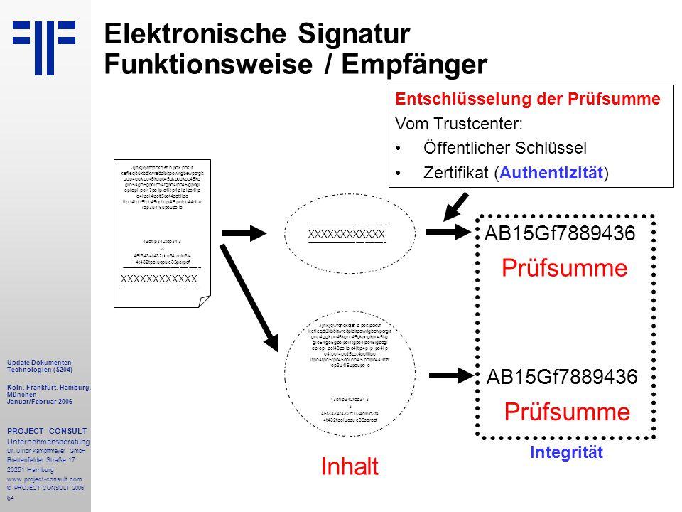 64 Update Dokumenten- Technologien (S204) Köln, Frankfurt, Hamburg, München Januar/Februar 2006 PROJECT CONSULT Unternehmensberatung Dr.