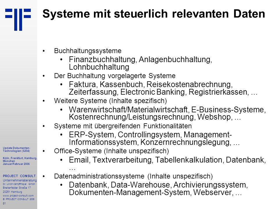 81 Update Dokumenten- Technologien (S204) Köln, Frankfurt, Hamburg, München Januar/Februar 2006 PROJECT CONSULT Unternehmensberatung Dr.