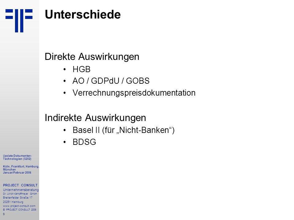 50 Update Dokumenten- Technologien (S204) Köln, Frankfurt, Hamburg, München Januar/Februar 2006 PROJECT CONSULT Unternehmensberatung Dr.