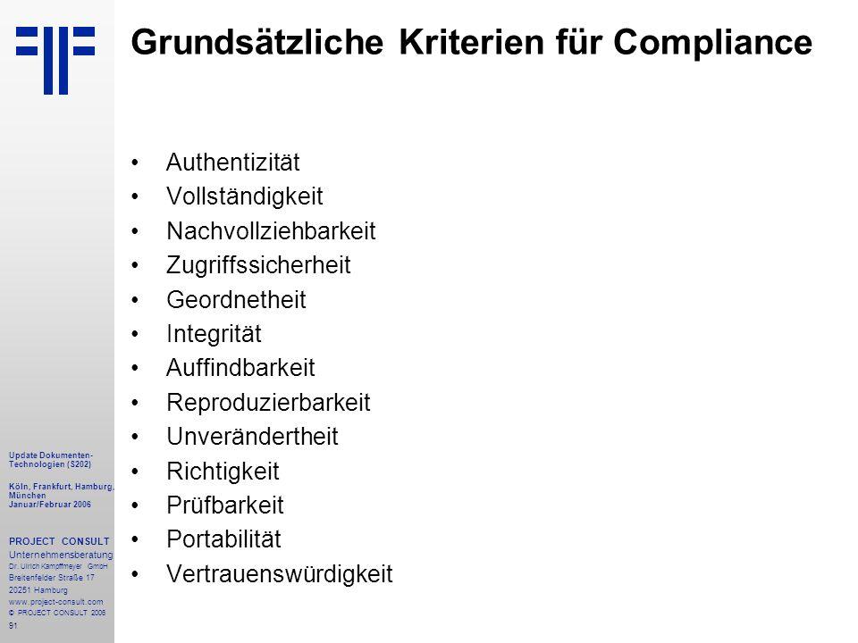 91 Update Dokumenten- Technologien (S202) Köln, Frankfurt, Hamburg, München Januar/Februar 2006 PROJECT CONSULT Unternehmensberatung Dr.