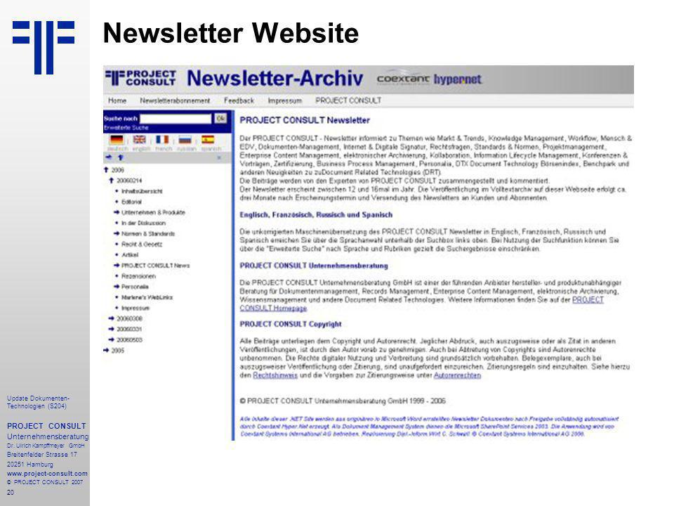 20 Update Dokumenten- Technologien (S204) PROJECT CONSULT Unternehmensberatung Dr.