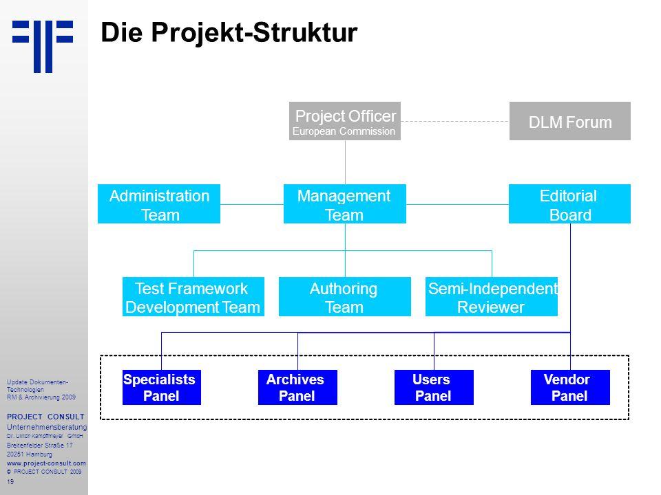 19 Update Dokumenten- Technologien RM & Archivierung 2009 PROJECT CONSULT Unternehmensberatung Dr. Ulrich Kampffmeyer GmbH Breitenfelder Straße 17 202