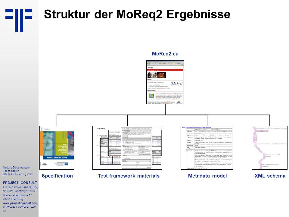 28 Update Dokumenten- Technologien RM & Archivierung 2009 PROJECT CONSULT Unternehmensberatung Dr. Ulrich Kampffmeyer GmbH Breitenfelder Straße 17 202
