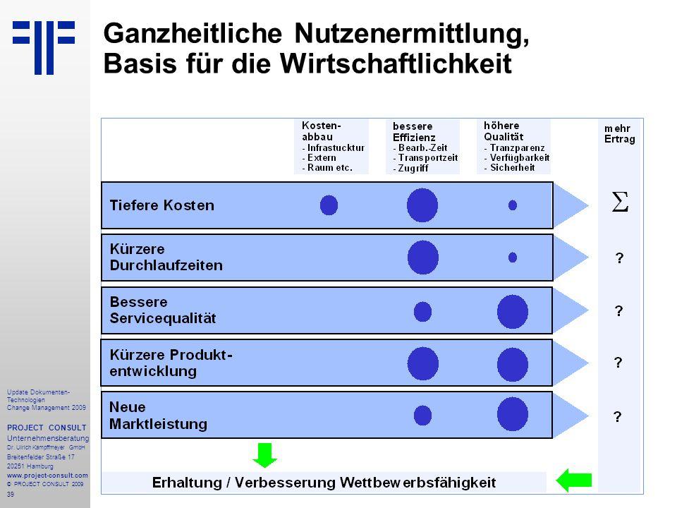 39 Update Dokumenten- Technologien Change Management 2009 PROJECT CONSULT Unternehmensberatung Dr. Ulrich Kampffmeyer GmbH Breitenfelder Straße 17 202