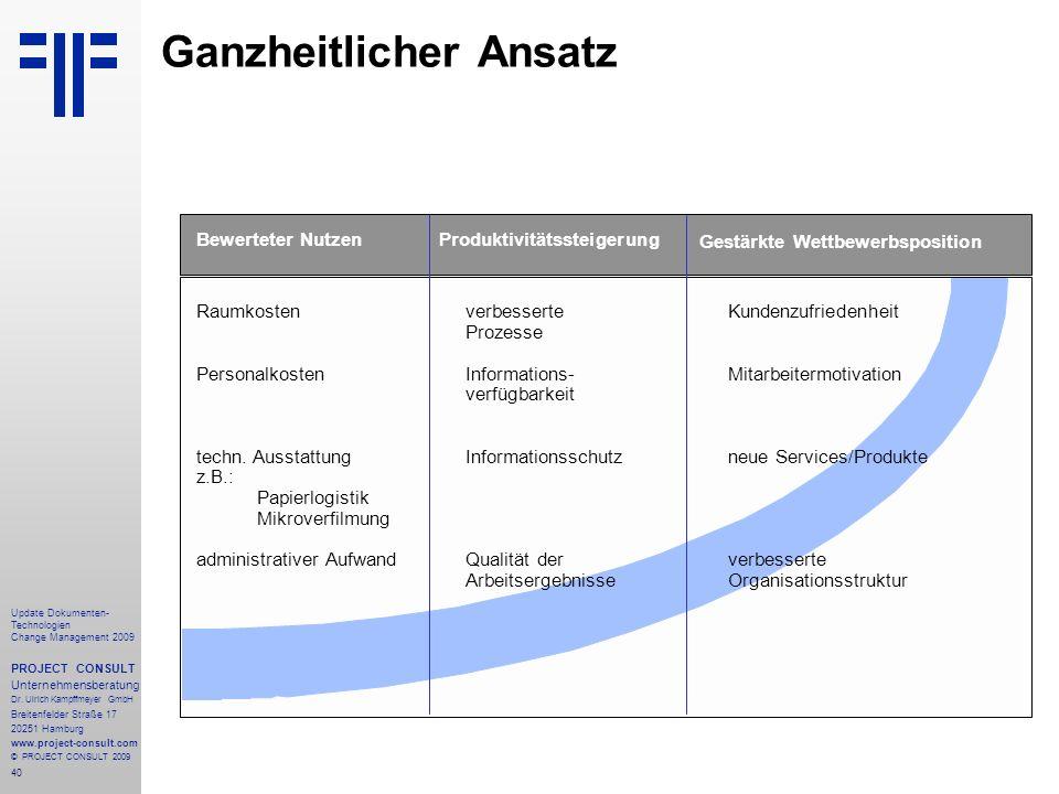 40 Update Dokumenten- Technologien Change Management 2009 PROJECT CONSULT Unternehmensberatung Dr. Ulrich Kampffmeyer GmbH Breitenfelder Straße 17 202