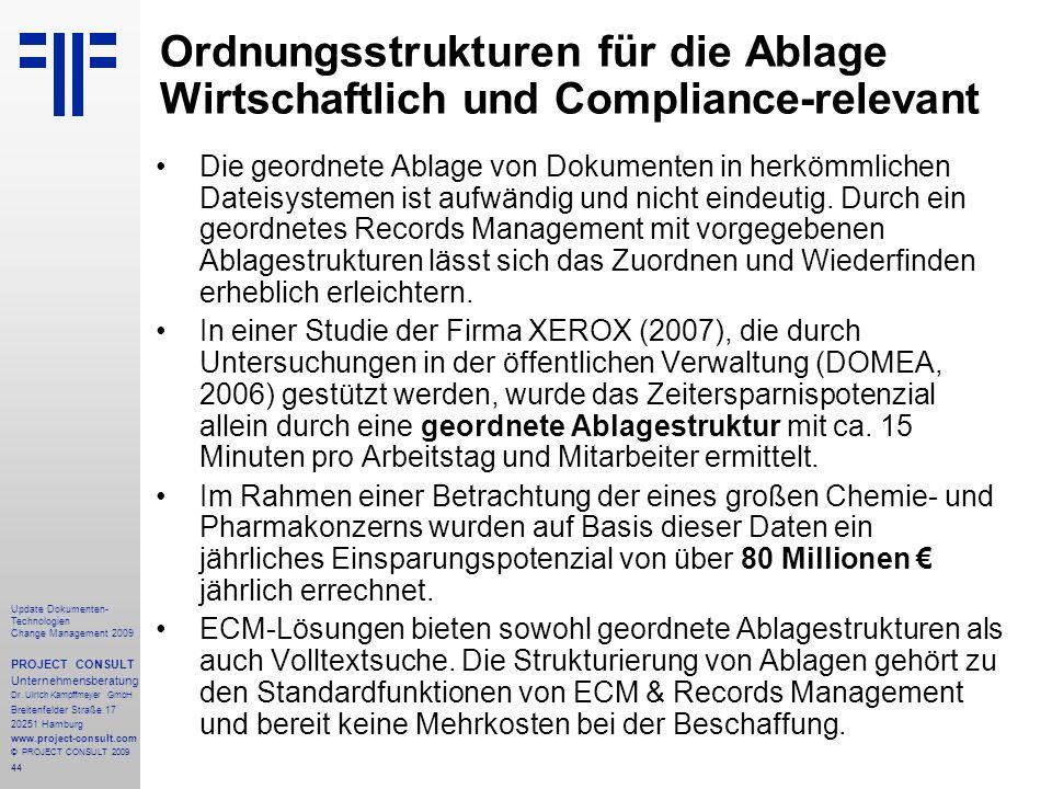 44 Update Dokumenten- Technologien Change Management 2009 PROJECT CONSULT Unternehmensberatung Dr. Ulrich Kampffmeyer GmbH Breitenfelder Straße 17 202