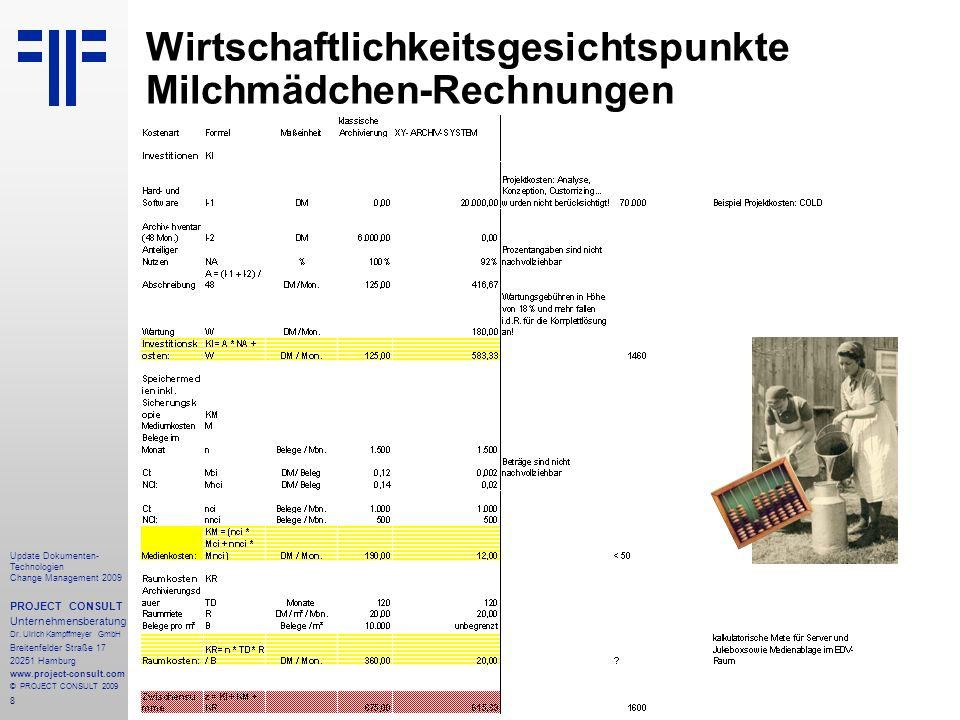 8 Update Dokumenten- Technologien Change Management 2009 PROJECT CONSULT Unternehmensberatung Dr. Ulrich Kampffmeyer GmbH Breitenfelder Straße 17 2025