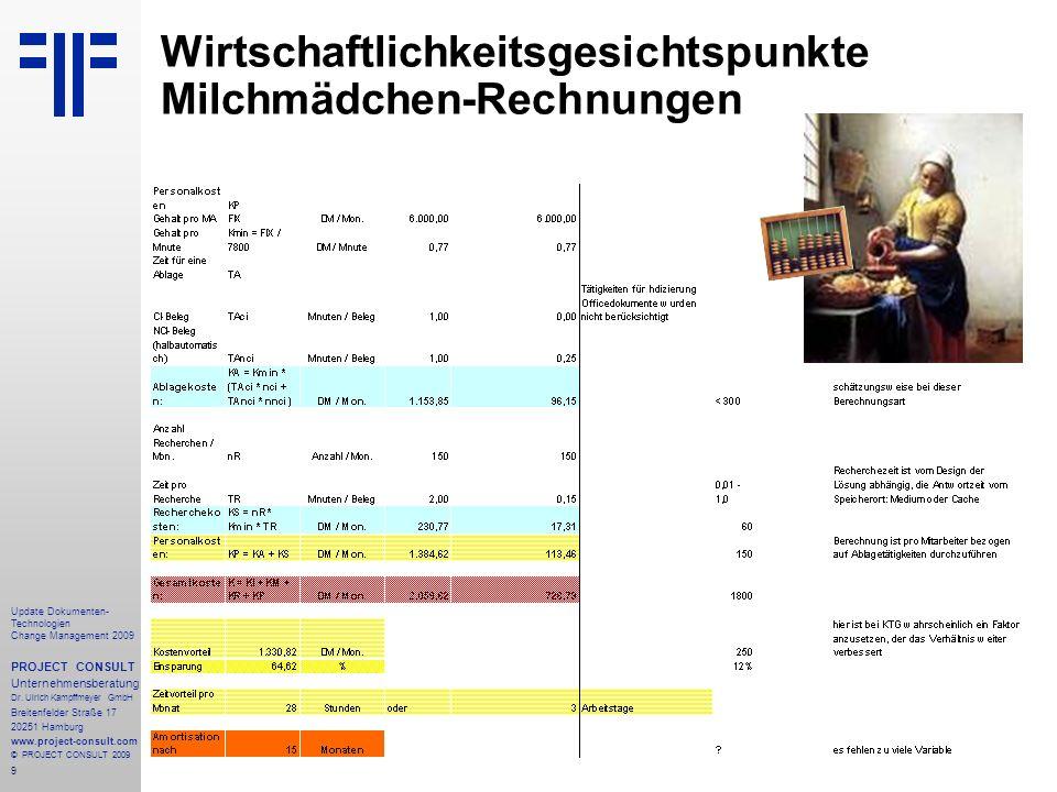 9 Update Dokumenten- Technologien Change Management 2009 PROJECT CONSULT Unternehmensberatung Dr. Ulrich Kampffmeyer GmbH Breitenfelder Straße 17 2025